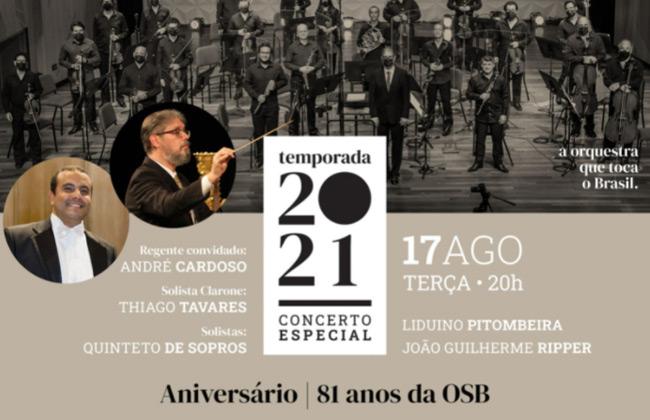 Concerto de aniversário da OSB com regência de André Cardoso em agosto