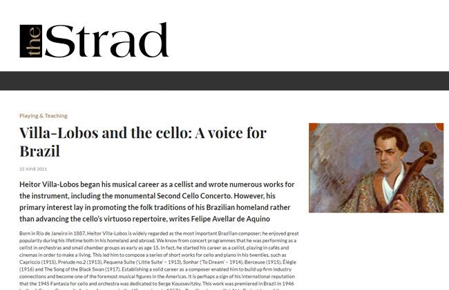 Artigo sobre Villa-Lobos na tradicional revista londrina The Strad